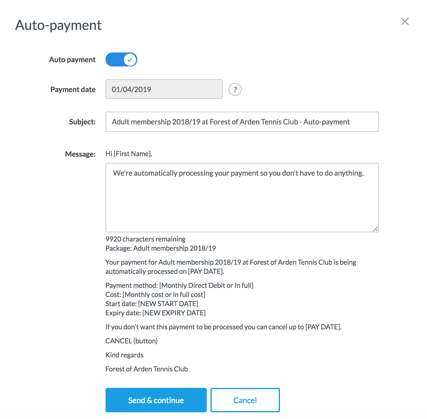Membership Auto Payments – ClubSpark Support